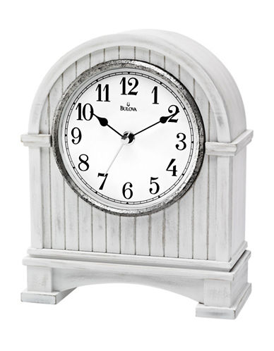 Bulova Planked Table and Mantel Clock-WHITE-One Size