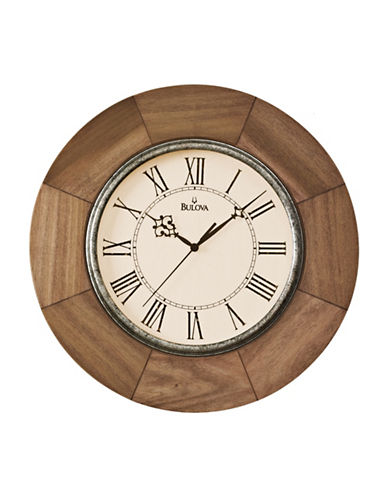 Bulova Wood Rim Round Wall Clock-BROWN-One Size