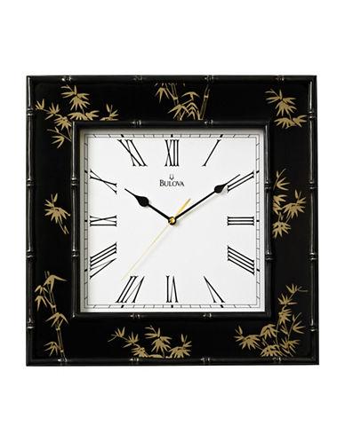 Bulova Bamboo-Motif Square Wall Clock-BLACK-One Size