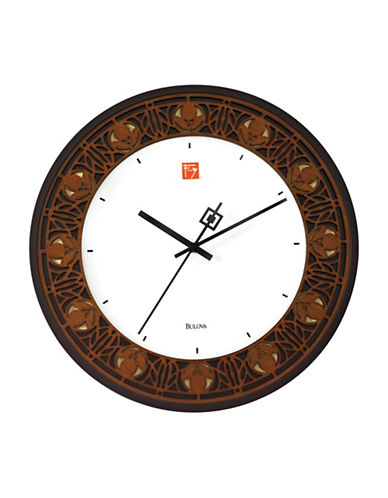 Bulova Laser-Cut Round Wall Clock-BROWN-One Size