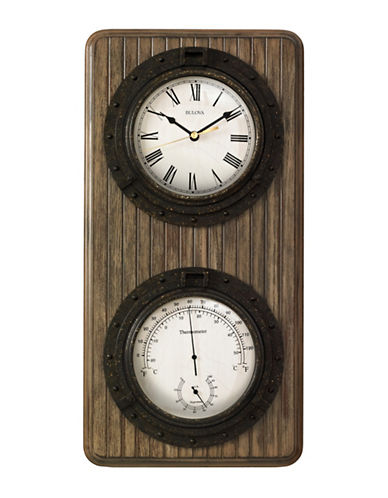 Bulova Monterey Wood Case Porthole Clock-WALNUT-One Size