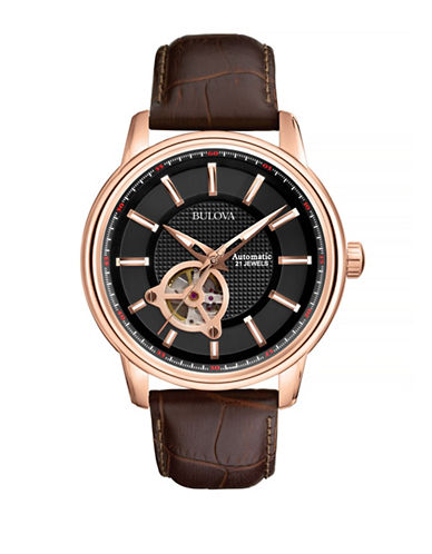Bulova Automatic Open Aperture Leather Watch-BROWN-One Size