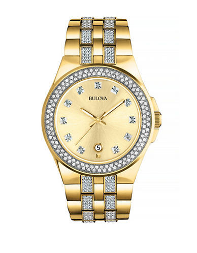 Bulova Crystal Goldtone Stainless Steel Watch-GOLD-One Size