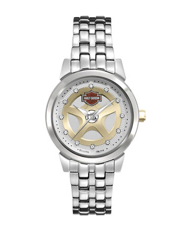 Harley Davidson Analog Spoke Collection Crystal-Detailed Watch-SILVER-One Size