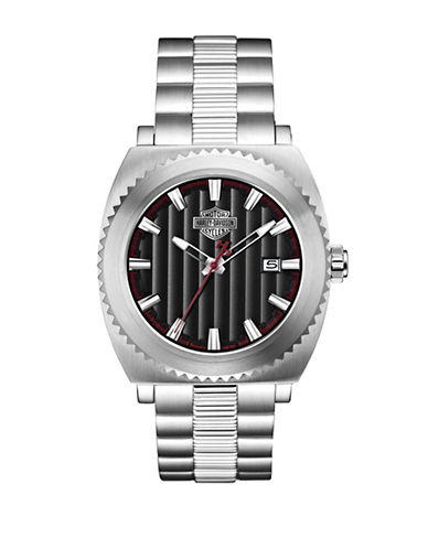 Harley Davidson Analog The Gearhead Collection Stainless Steel Bracelet Watch-SILVER-One Size