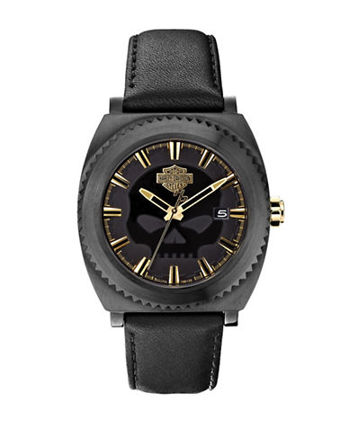 Harley Davidson Analog Core Collection Leather Strap Watch-BLACK-One Size