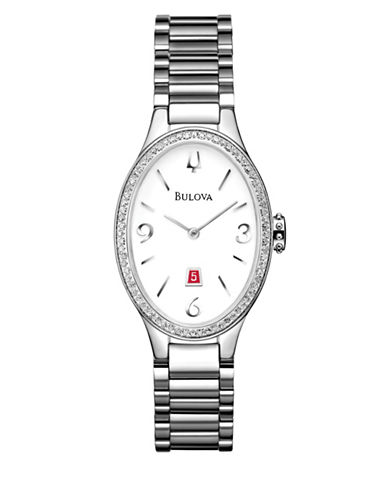 Bulova Analog Diamond Gallery Stainless Steel Oval Watch-SILVER-One Size