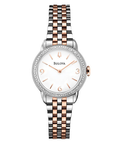 Bulova Analog Diamond Gallery Collection Two-Tone Bracelet Watch with 0.36 TCW Diamonds-SILVER/ROSE GOLD-One Size