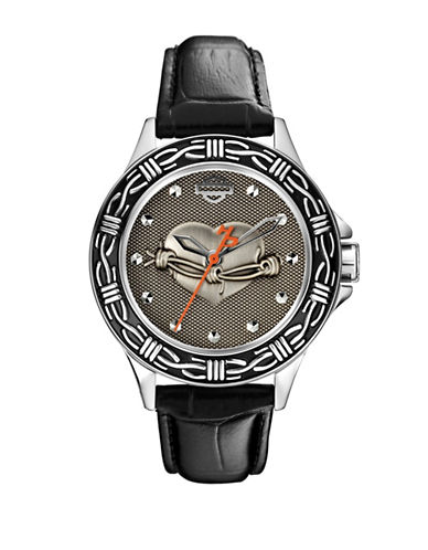 Harley Davidson The Barbed Wire Analog Leather Strap Watch-BLACK-One Size