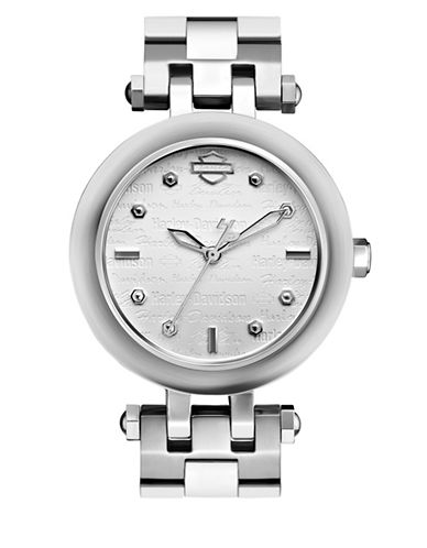 Harley Davidson The Scoop Case Stainless Steel Analog Watch-SILVER-One Size