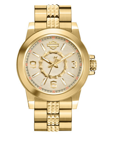 Harley Davidson The Boyfriend Goldtone Stainless Steel Analog Watch-GOLD-One Size