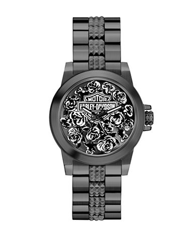 Harley Davidson Analog Boyfriend Collection Floral Pattern Watch-BLACK-One Size