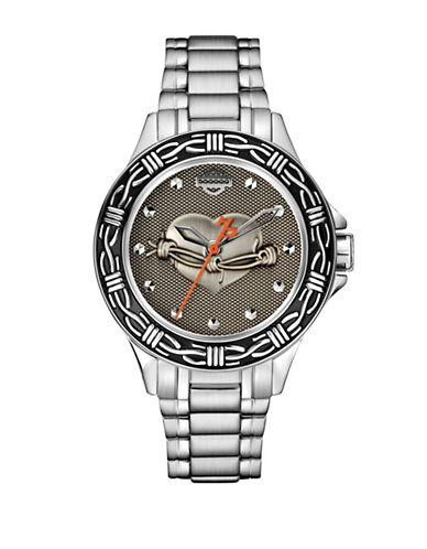 Harley Davidson The Barbed Wire Stainless Steel Analog Watch-SILVER-One Size