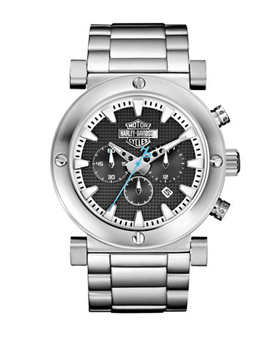 Harley Davidson Analog The Black Label Collection Chronograph Bracelet Watch-SILVER-One Size