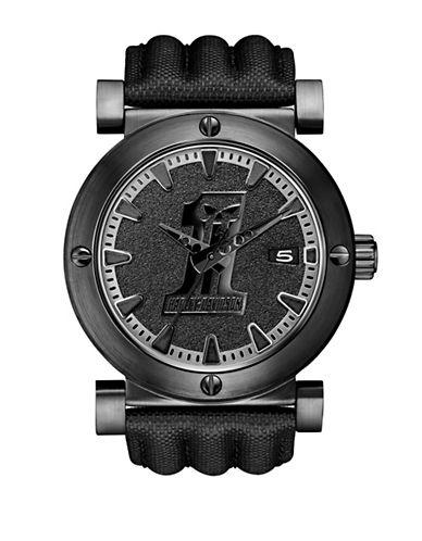Harley Davidson Analog Black Label Collection Leather Strap Watch-BLACK-One Size