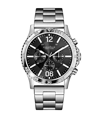 Caravelle New York The Dress Collection Chronograph Silvertone Bracelet Watch-SILVER-One Size