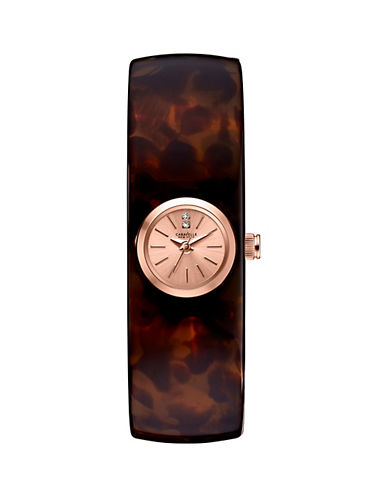 Caravelle New York Analog Bangle Collection Rectangle Horn-Finish Acetate Watch-TORTOISE-One Size