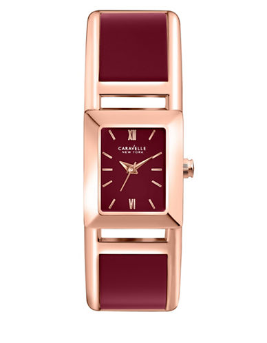 Caravelle New York Analog Bangle Collection Rectangle Burgundy Acetate Watch-BURGUNDY-One Size