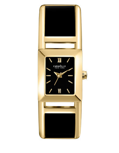 Caravelle New York Analog Bangle Collection Rectangle Black Acetate Watch-BLACK-One Size