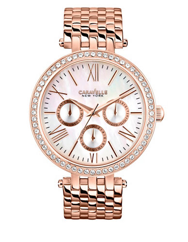Caravelle New York Multifunction Analog The Rose Gold Collection Stainless Steel Bracelet Watch-ROSE GOLD-One Size