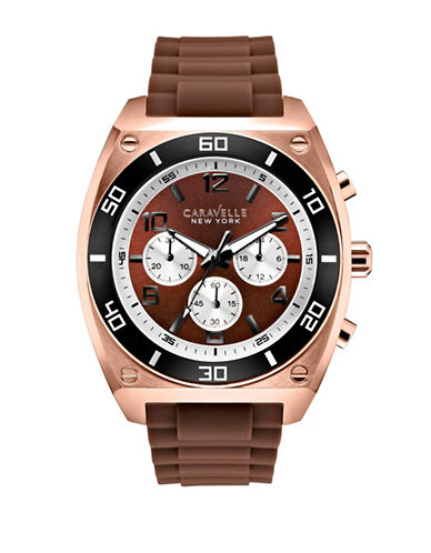 Caravelle New York Chronograph the Sports Chrono Collection Rose Goldtone Silicone Strap Watch-BROWN-One Size