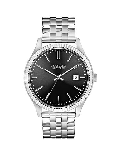 Caravelle New York The Dress Collection Three-Hand Calendar Analog Bracelet Watch-SILVER-One Size