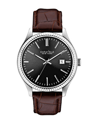 Caravelle New York Analog Textured Bezel Stainless Steel Leather Strap Watch-BROWN-One Size