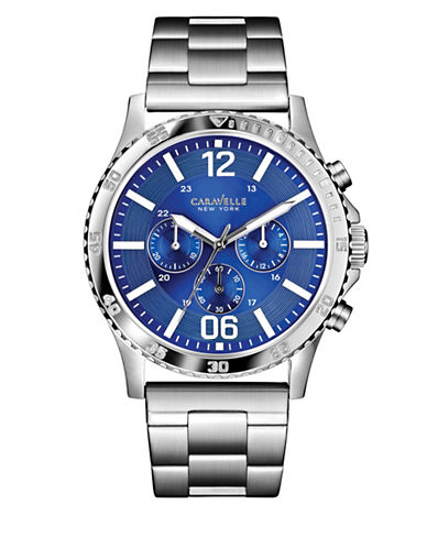Caravelle New York Chronograph New York Stainless Steel Bracelet Watch-SILVER-One Size