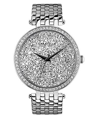 Caravelle New York Analog Pave Dial Stainless Steel Bracelet Watch-SILVER-One Size
