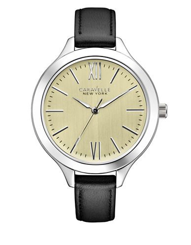 Caravelle New York The Dress Collection Three-Hand Sweep Analog Leather Strap Watch-BLACK-One Size