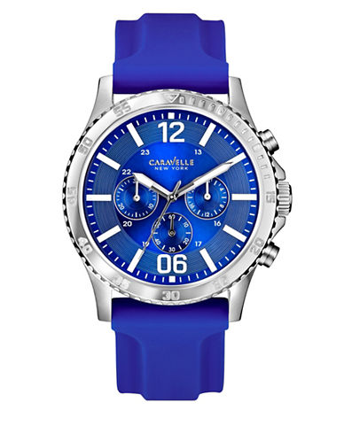 Caravelle New York The Dress Collection Chronograph Silicone Strap Watch-BLUE-One Size