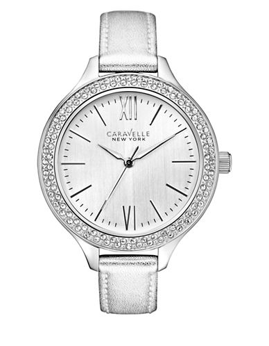 Caravelle New York The Dress Collection Three-Hand Sweep Analog Leather Strap Watch-SILVER-One Size