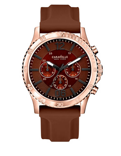 Caravelle New York Chronograph Dress Collection Rose Goldtone Rubber Strap Watch-BROWN-One Size