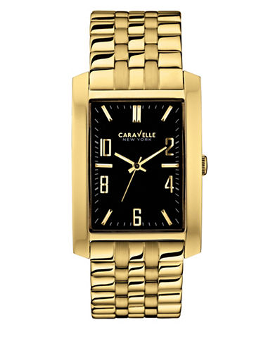 Caravelle New York Analog Rectangular Goldtone Bracelet Watch-GOLD-One Size