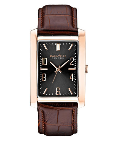 Caravelle New York Analog Rectangular Goldtone Leather Strap Watch-ROSE GOLD-One Size