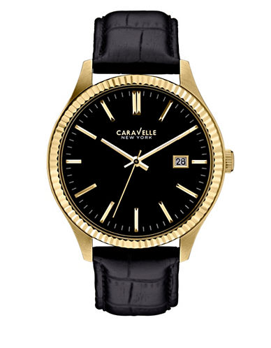 Caravelle New York Analog Dress Collection Calendar Leather Watch-BLACK-One Size