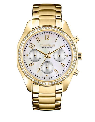 Caravelle New York Chronograph Dress Collection Crystal Watch-GOLD-One Size