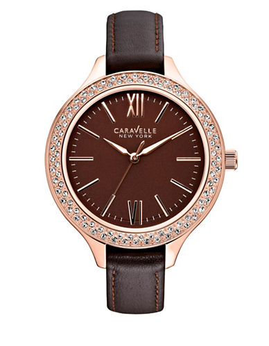 Caravelle New York Analog Dress Collection Rose Goldtone Watch-BROWN-One Size