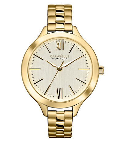 Caravelle New York Dress Collection Analog Goldtone Stainless Steel Watch-GOLD-One Size