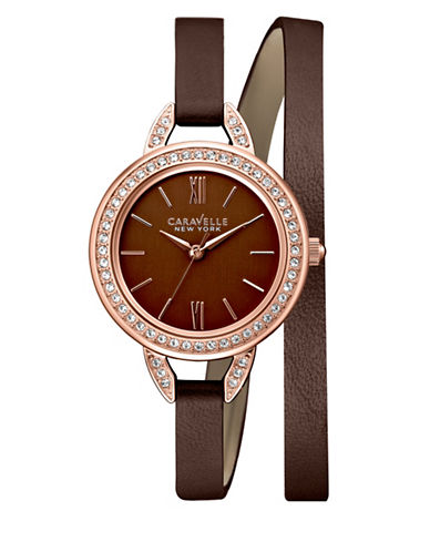 Caravelle New York Analog Dress Collection Leather Watch-BROWN-One Size