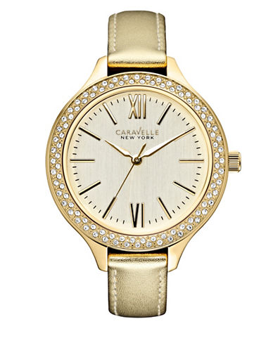 Caravelle New York Analog Dress Collection Leather Watch-GOLD-One Size