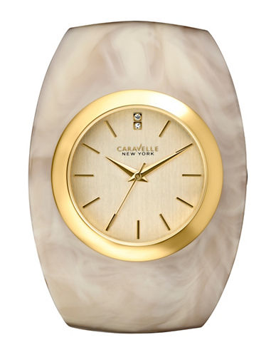 Caravelle New York Analog Bangle Collection Round Horn-Finish Acetate Watch-BEIGE-One Size
