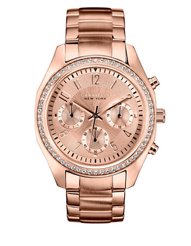 Caravelle New York Chronograph Rose Gold Collection Stainless Steel Watch-ROSE GOLD-One Size