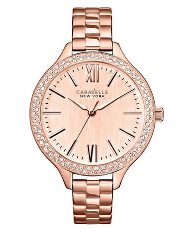 Caravelle New York Analog Pave Rose-Goldtone Bracelet Watch-ROSE GOLD-One Size