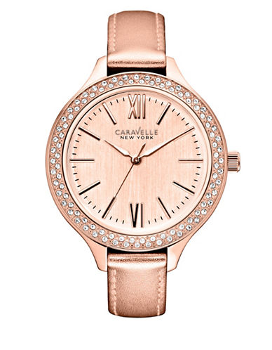 Caravelle New York Analog Dress Collection Leather Watch-ROSE GOLD-One Size