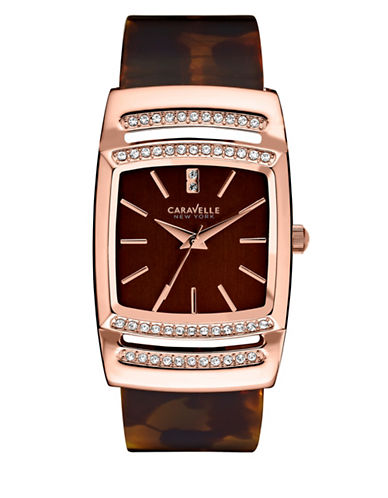 Caravelle New York Analog Bangle Collection Faux Tortoise Acetate Watch-TORTOISE-One Size