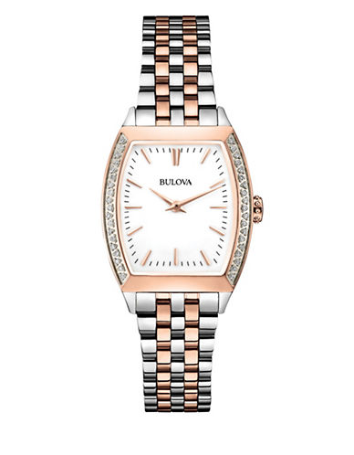 Bulova Analog Diamond Gallery Collection Two-Tone Bracelet Watch with 0.19 TCW Diamonds-SILVER/ROSE GOLD-One Size