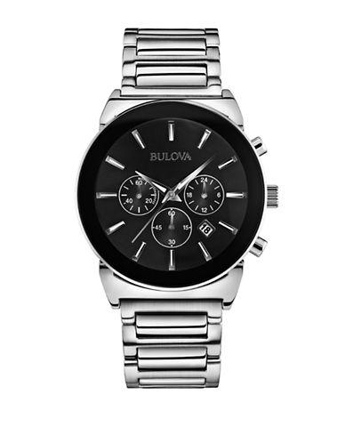 Bulova Mens Chronograph Stainless Steel Bracelet Watch-SILVER-One Size