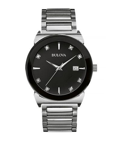 Bulova Diamond Stainless Steel Link Bracelet Watch-SILVER-One Size