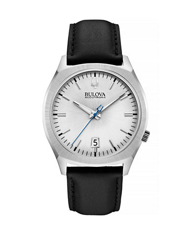 Bulova Accutron II Stainless Steel Leather Watch-BLACK-One Size
